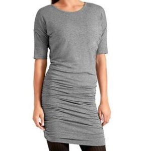 ATHLETA SOLSTICE GRAY RUCHED SIDES WOOL TEE DRESS